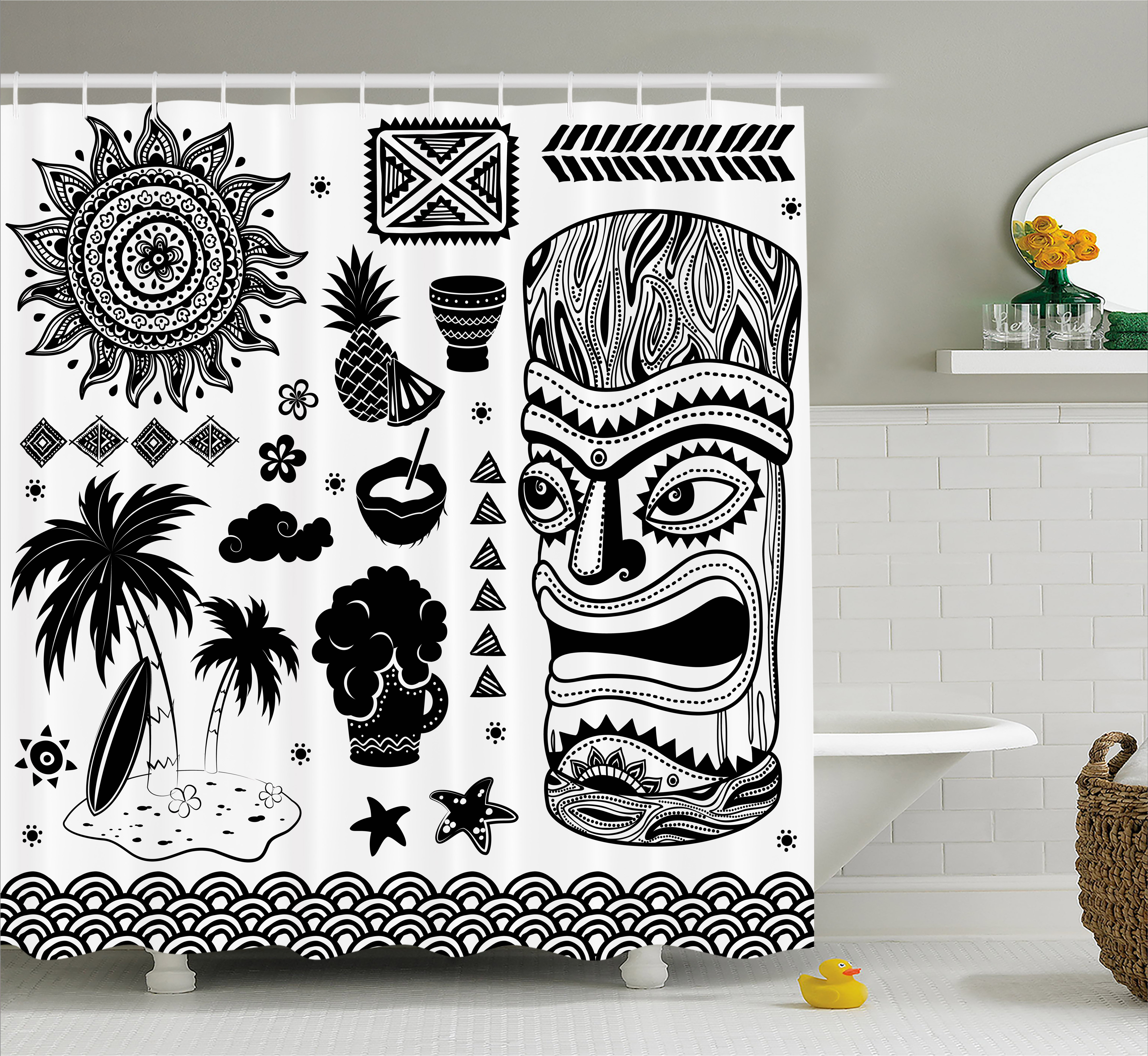 Tiki Bar Decor Shower Curtain, Tribal Ethnic Composition Palms Pineapple  Paradise Vintage Tiki Figure,