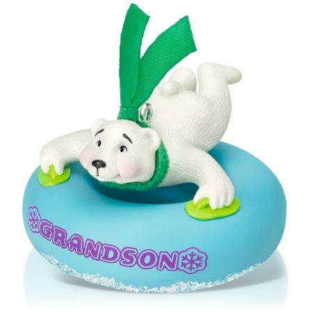 Hallmark Keepsake Ornament: Grandson Polar Bear in Snow Tube