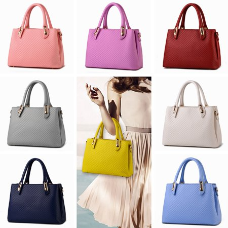 - 2018 Summer Womens Pure Color Pu Leather Boutique Tote Bags Top Handle Handbag