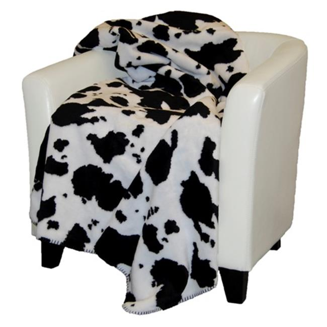 Denali Home Collection 16113150 Black Cow With Black Double Sided Microplush Throw