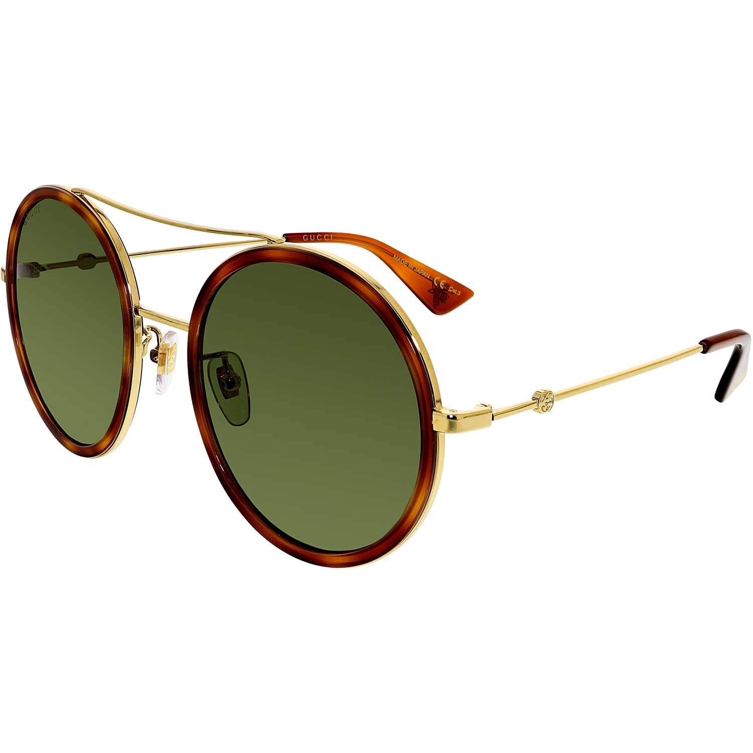 6bb64318f7a Gucci Women s Urban Web Block Round Sunglasses Gold Havana With Green Lens  One Size