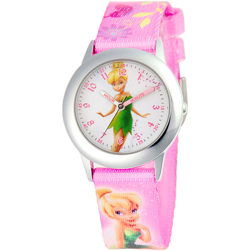 Disney Tinker Bell Girls' Stainless Steel Plain Case Watch, Printed Fabric Strap