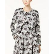 NINE WEST Womens Silver Open-front Floral Jacquard Blazer Jacket  Size: 4