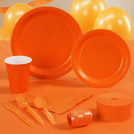 Denver Broncos Team Color Orange Party Tableware Decorating Kit for 8 - 87 Pcs