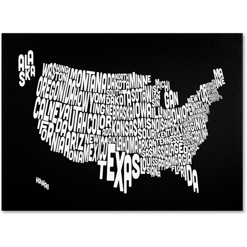 Trademark Art 'BLACK-USA States Text Map' Canvas Art by Michael Tompsett