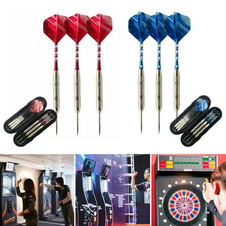 Tungsten Steel Tip Darts Set -3PCS Darts+3 Spare Shafts+ Case 2  colors Games-24g](Red Dart)