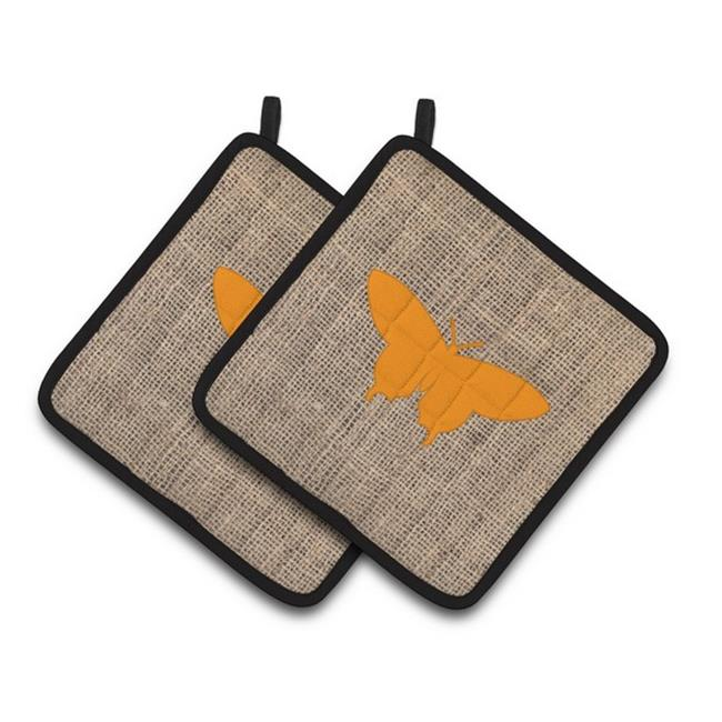 Carolines Treasures BB1042-BL-OR-PTHD Butterfly Faux Burlap & Orange Pair of Pot Holders, 7.5 x 3 x 7.5 in. - image 1 of 1