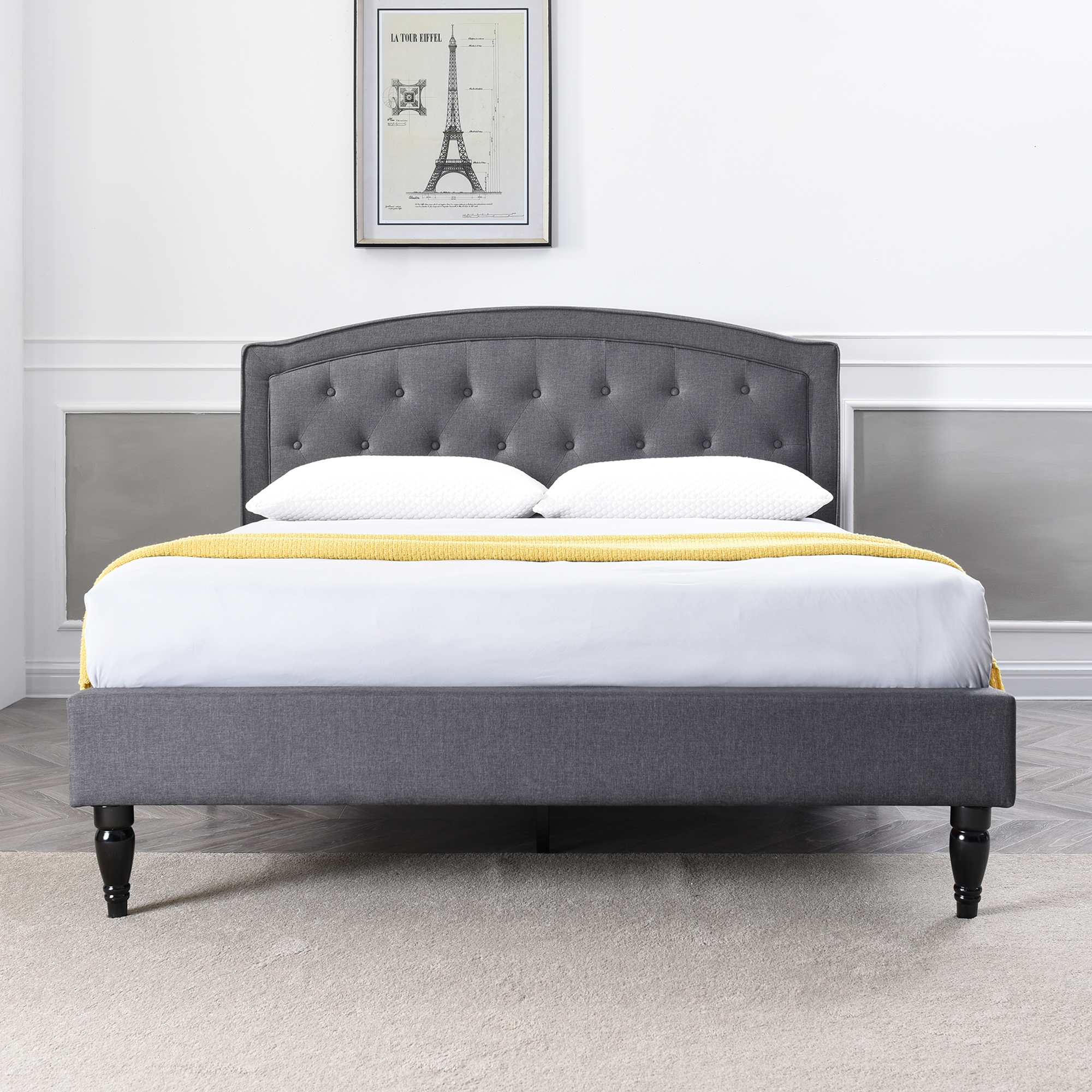 Modern Sleep Wellesley Upholstered Platform Bed Headboard And Metal Frame With Wood Slat Support Grey Multiple Sizes Walmart Com Walmart Com