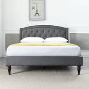 Modern Sleep Wellesley Upholstered Platform Bed   Headboard and Metal Frame with Wood Slat Support   Grey, Multiple Sizes