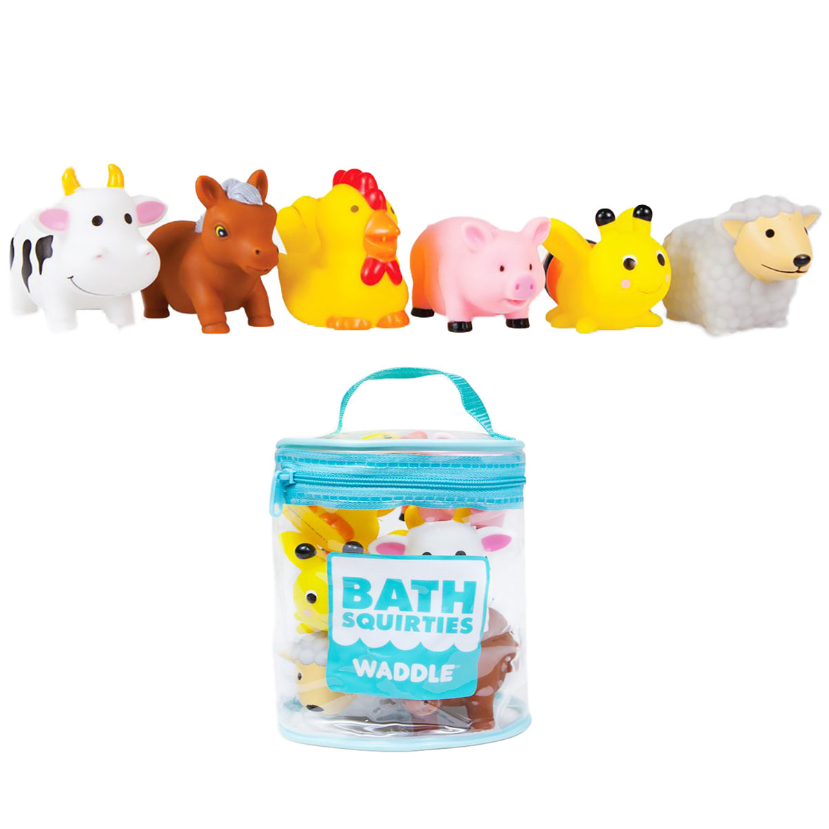 Waddle Bathtime Toys Farm Animal Bath Toy Squirters Cow Pig sheep Horse and More by Waddle and Friends
