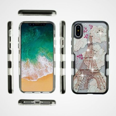iPhone X Case, iPhone 10 Case, by Insten Tuff Eiffel Tower Dual Layer [Shock Absorbing] Hybrid TPU Gel Case Cover For Apple iPhone X 2017, Multi-Color - image 2 of 3