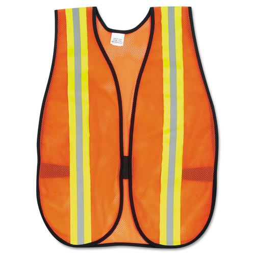 Orange Safety Vest, 2 in. Reflective Strips, Polyester, Side Straps, One Size