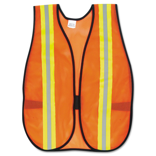 Orange Safety Vest, 2 in. Reflective Strips, Polyester, Side Straps, One Size