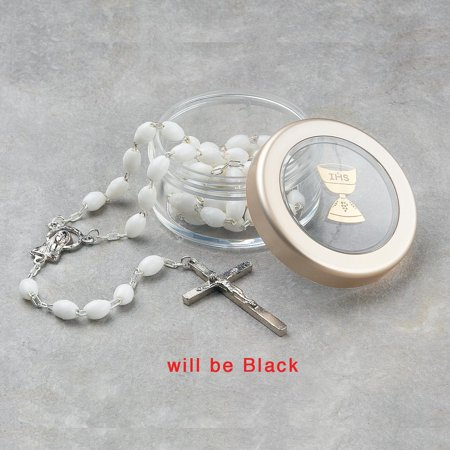 First Communion Black Rosary Clear Box Religious Baptism/christening/communion Gifts For Women For Her mothers day gifts mom wife -