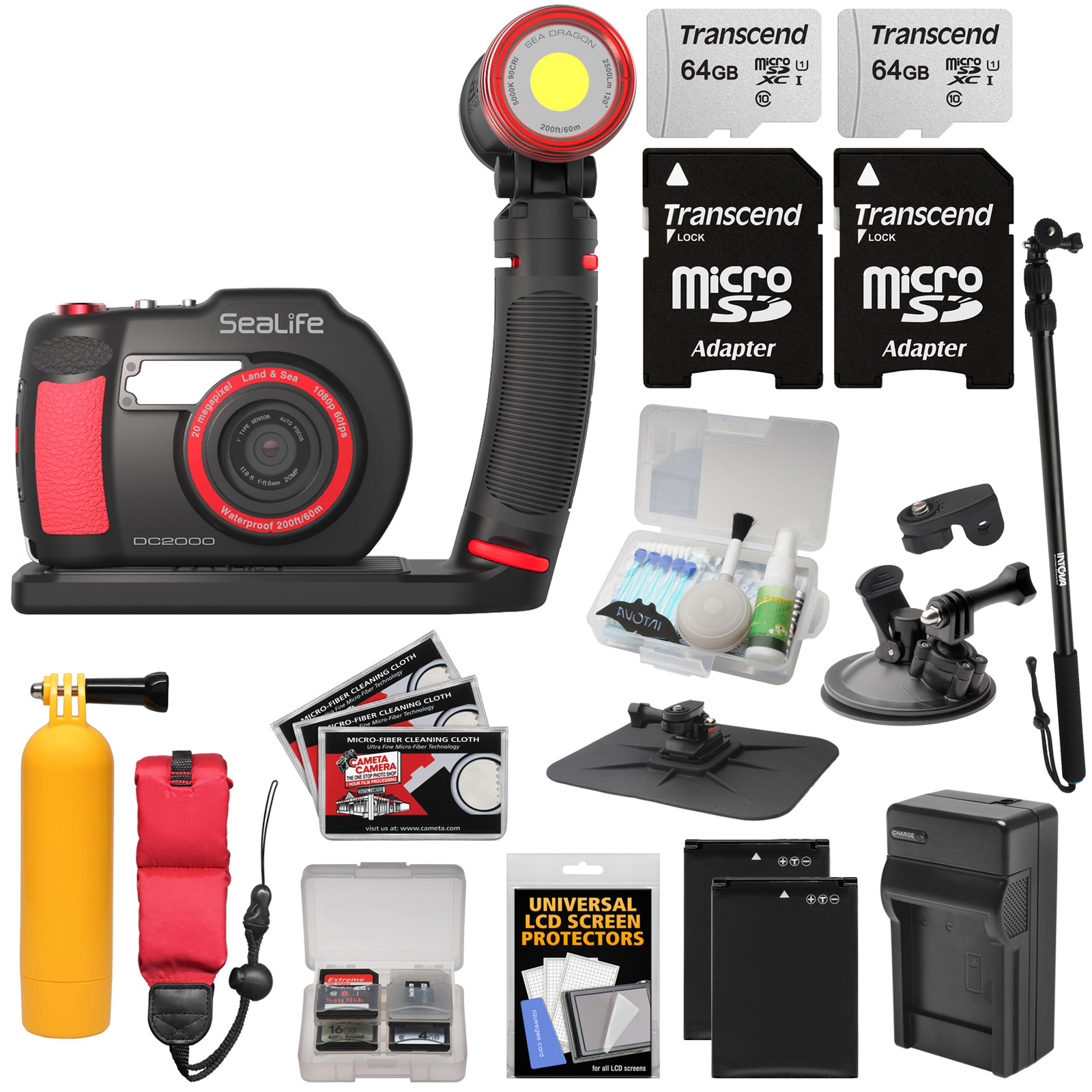 SeaLife DC2000 HD Underwater Digital Camera with Sea Dragon 2500 LED Light Set + 2 64GB Cards + Batteries + Charger + Monopod + Suction Cup + Buoy Kit