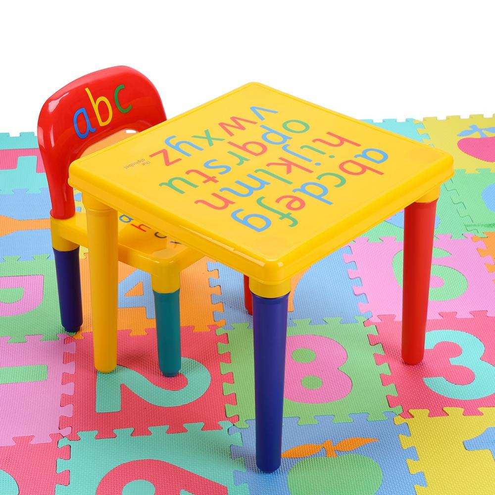 Lv. life Kids Table & Chairs,2 piece Table & Chairs Plastic DIY Kids Set Toddler Play Activity Fun Child Toy