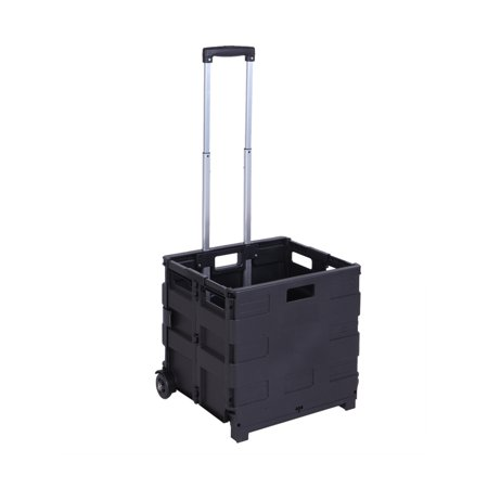 Image of 2 Wheels Rolling Foldable Crate Utility Cart 80LB Load Capacity Collapsible Telescopic Handle Handcart