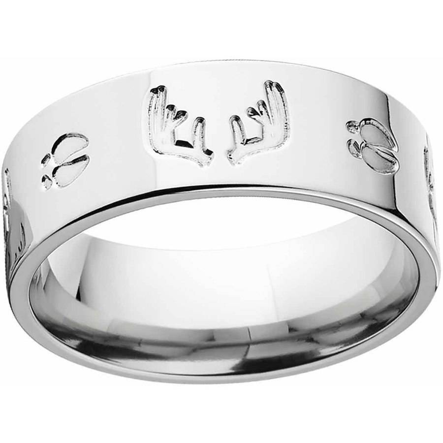 Men's Milled Track and Rack Durable 8mm Stainless Steel Wedding Band with Comfort Fit Design