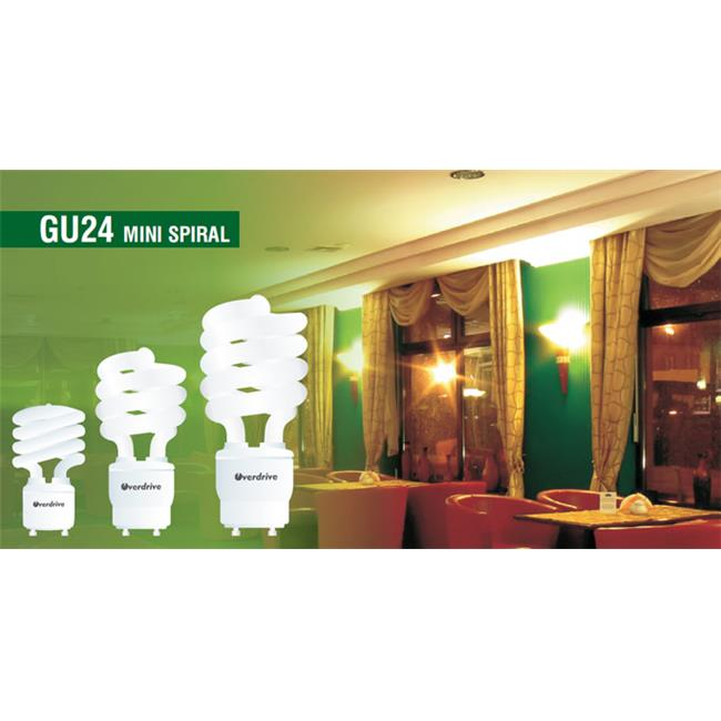 Overdrive 23W T2 Super Mini Spiral Bulbs GU24 -4100K Cool White, Pack Of 50