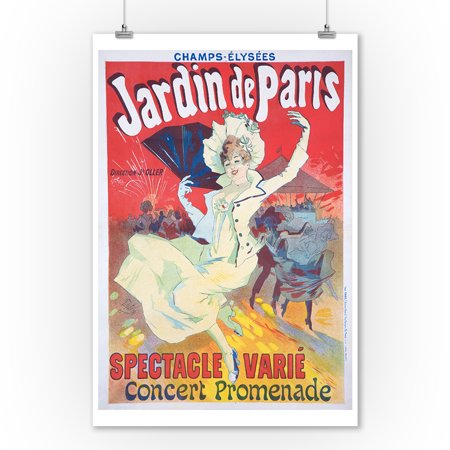 Jardin de Paris - Spectacle Varie Vintage Poster (artist: Cheret) France c. 1901 (9x12 Art Print, Wall Decor Travel Poster) - Decoraciones De Halloween Para Jardin