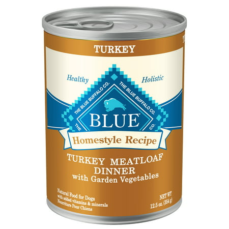 (12 pack) Blue Buffalo Homestyle Recipe Turkey Meatloaf Dinner with Garden Vegetables, 12.5 oz. cans