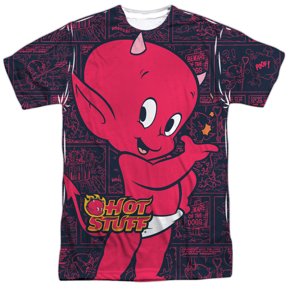Hot Stuff the Little Devil Cartoon Comic Book Panels Adult Front Print T-Shirt