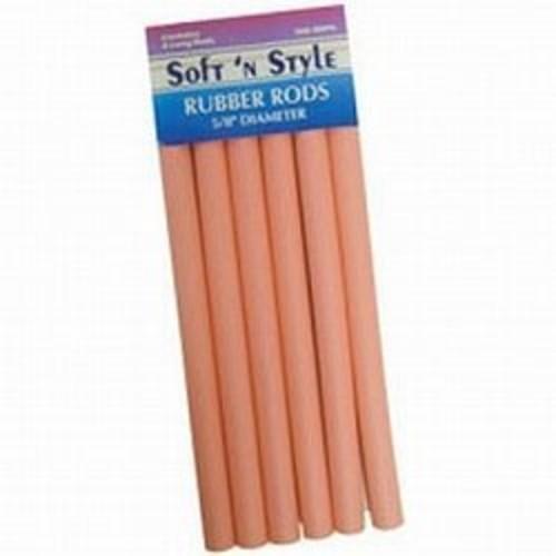 "SOFT 'N STYLE Pink Rubber Rods For Hair Long 10"" L x 5/8"" HC-SNSRRPK"