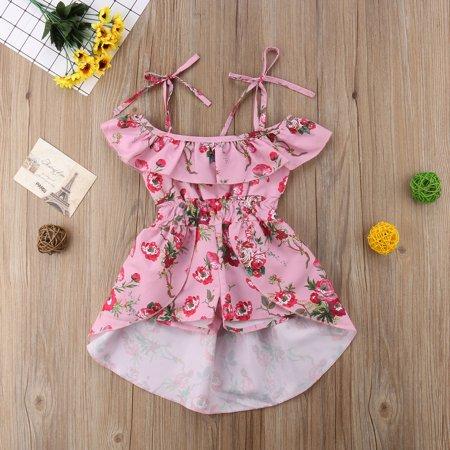 093f0acc9058b Infant Toddler Kids Baby Girl Off The Shoulder Dress Romper Ruffle Shorts  Jumpsuit Playsuit Irregular Hem Sunsuit