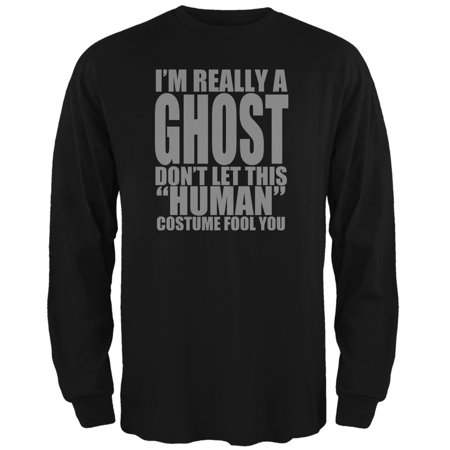 Halloween Human Ghost Costume Black Adult Long Sleeve T-Shirt (Halloween History Uk)