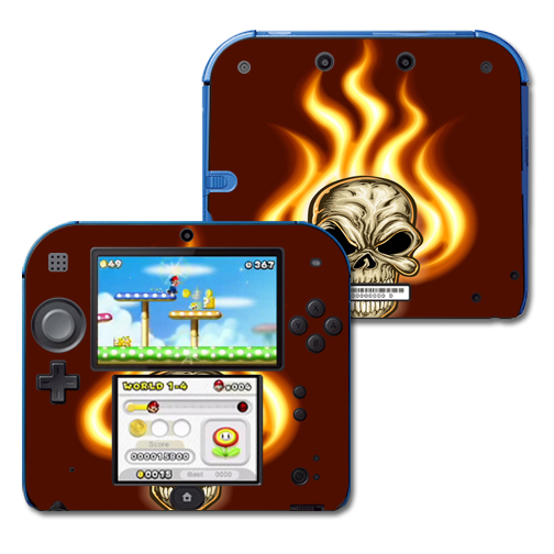 Mightyskins Protective Vinyl Skin Decal Cover for Nintendo 2DS wrap sticker skins Burning Skull