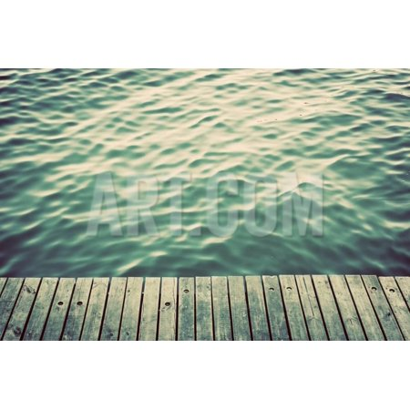 Grunge Wood Boards of a Pier over Ocean with Rippling Waves. Vintage Background Print Wall Art By Michal (Ripple Wave Board)