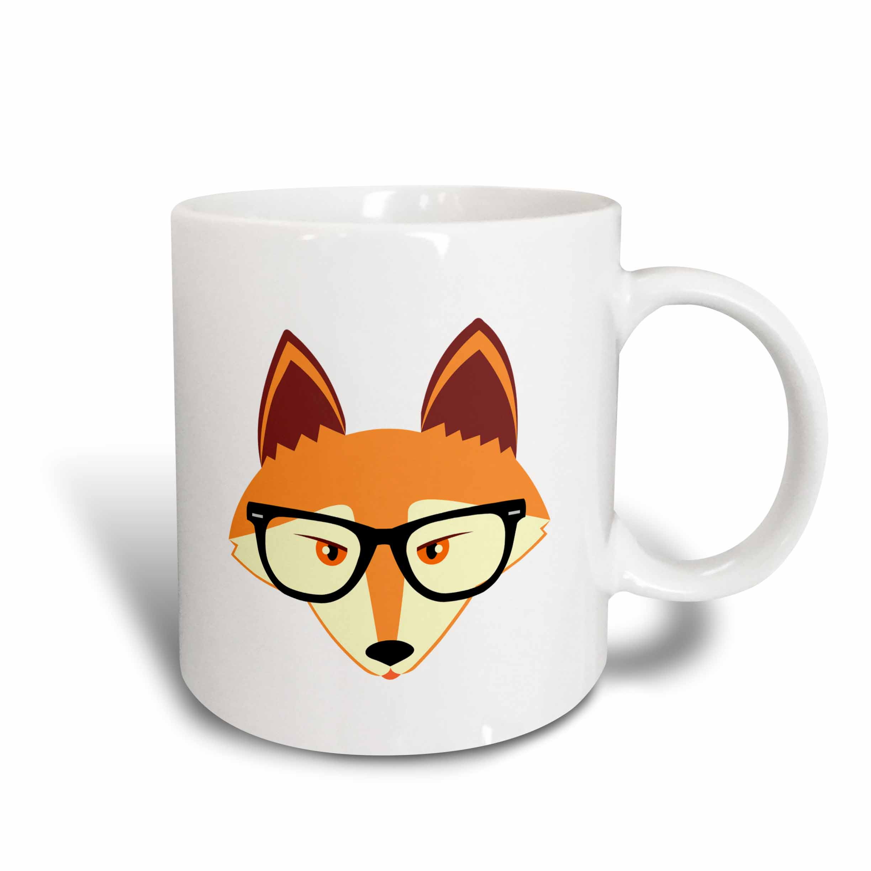 3drose Cute Hipster Red Fox With Glasses Ceramic Mug 15