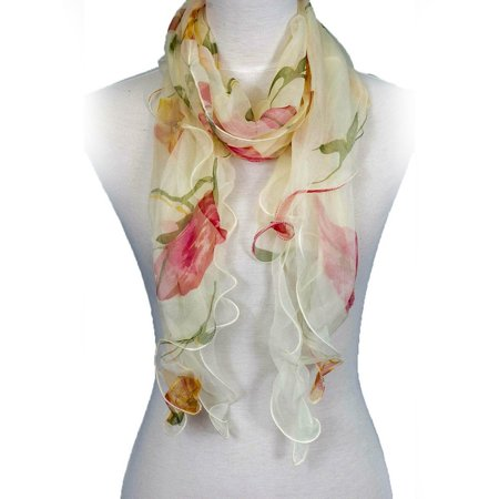 100% Silk Floral Ruffle Summer Silk Scarf for Women by Zodaca Ladies Fashion Lightweight Double Layer  - Beige/Red