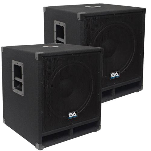 "Seismic Audio Pair of 15"" Pro Audio Subwoofer Cabinet PA DJ PRO Audio Speaker Sub woofer 300W - Baby-Tremor-PKG1"