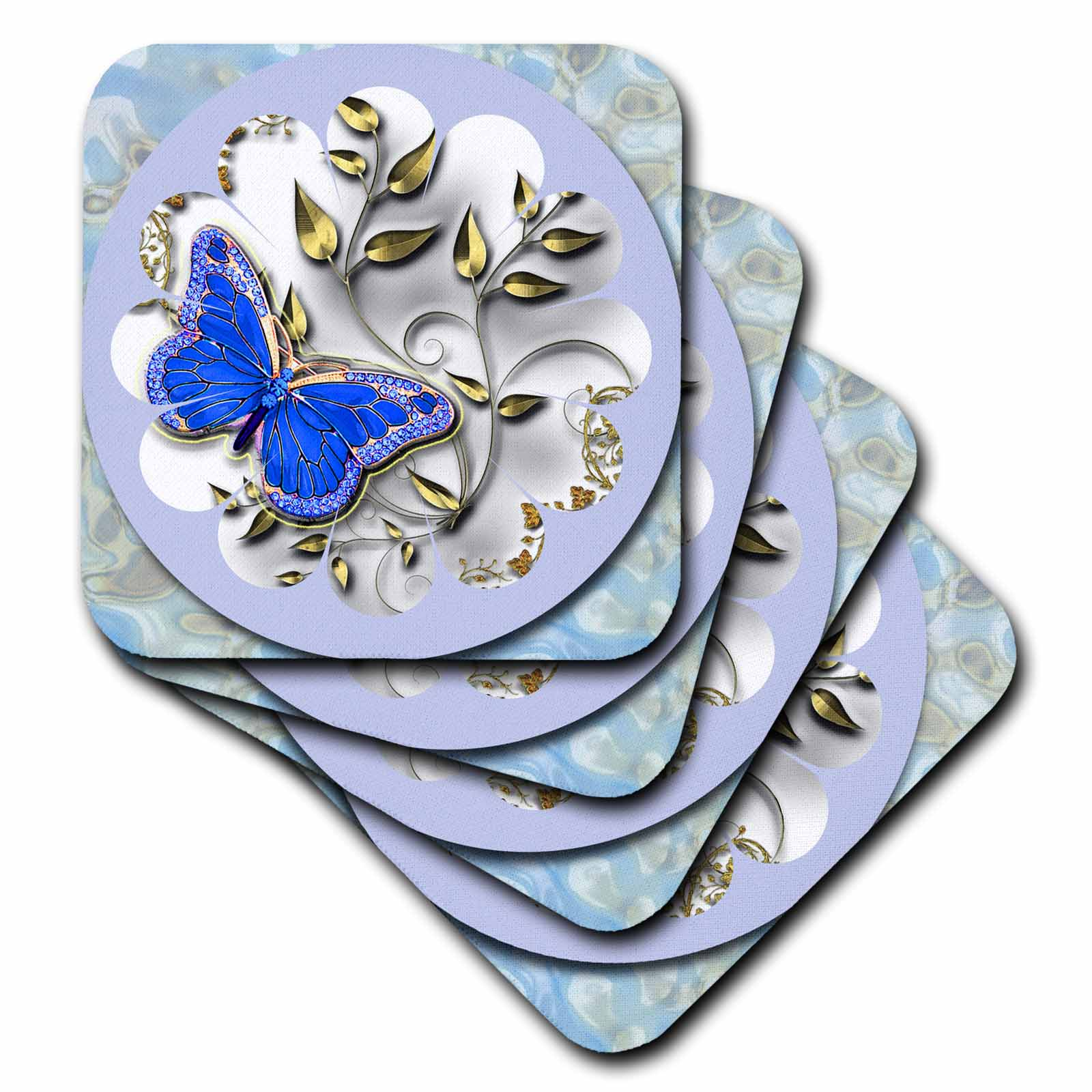 3dRose Pretty round blue frame, butterfly and golden accents , Ceramic Tile Coasters, set of 4