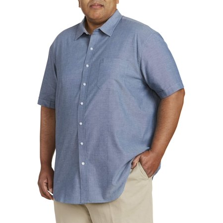 Big Tall Sport Coats - Men's Big And Tall Short Sleeve Chambray Shirt, Up To 7Xl