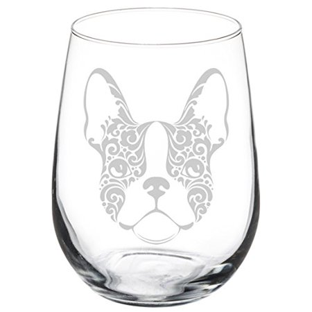 Wine Glass Goblet Frenchie French Bulldog Face Floral (17 oz Stemless) ()