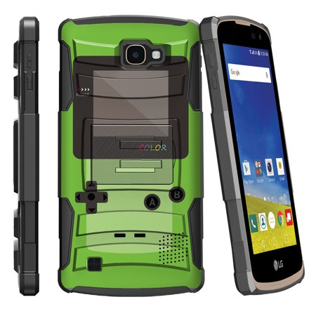Speed Demons Tiger - LG K4 L44VL, LG Optimus Zone 3, LG Spree K120, LG Rebel VS425 Miniturtle® Clip Armor Dual Layer Case Rugged Exterior with Built in Kickstand + Holster - Green Gameboy Color