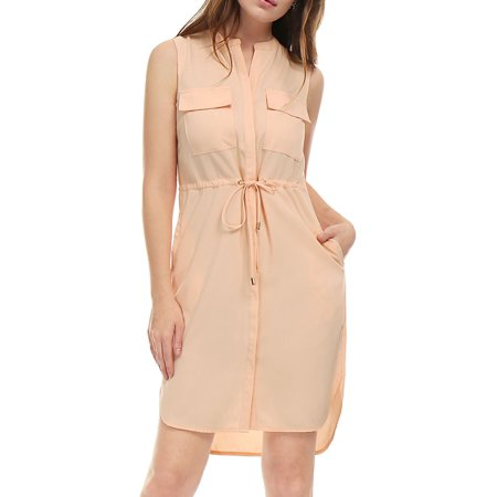 Unique Bargains Women's Single Breasted Sleeveless Above Knee Drawstring Dress Pink (Size XL / - Unique Dress Websites