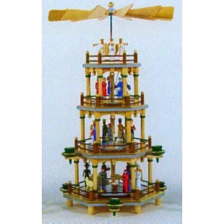 colorful nativity german christmas pyramid 4 tier