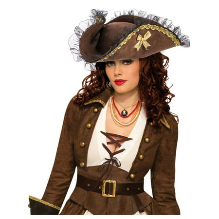 Adult Tricorn Pirate Brown Hat
