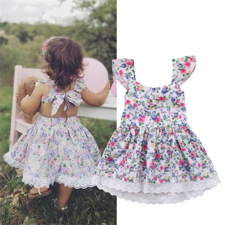 Toddler Summer Princess Flower Lace Dress Girl Kids Baby Party Wedding Pageant Floral Casual Dresses Skirt For 1-5Years (Drees For Kids)