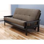 woodbury full size futon sofa with suede innerspring mattress black painted hardwood frame