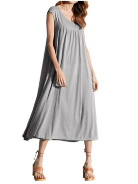 00c85f6605d055 Product Image Maxi Dresses for Women Casual Loose Long Dress Solid  Sleeveless