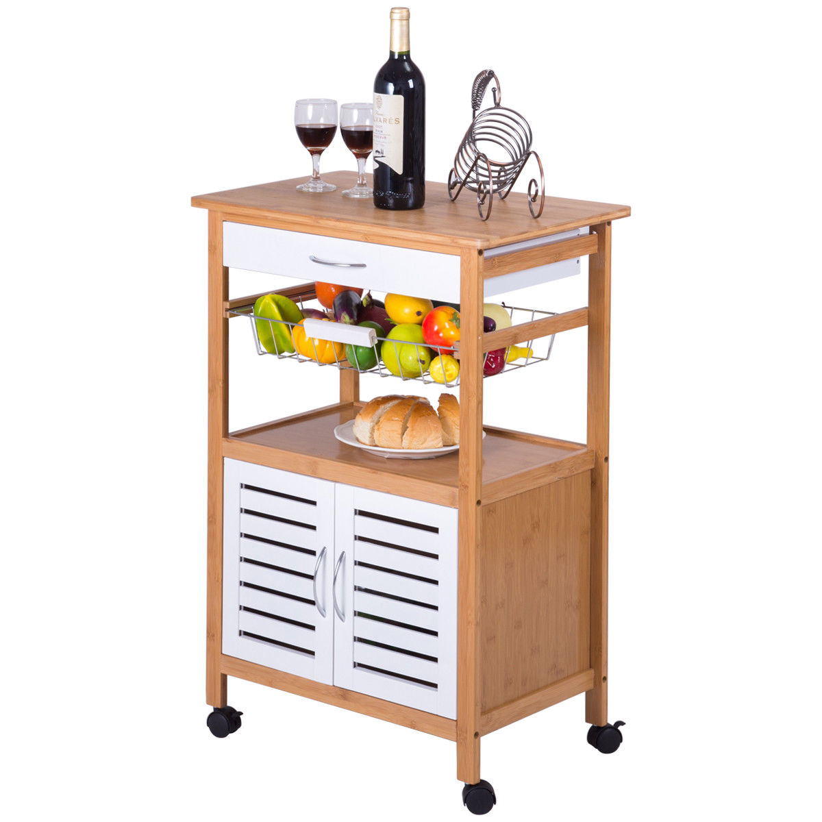 Gymax Bamboo Rolling Kitchen Trolley Cart Island Storage Cabinet w/Drawer&Basket New