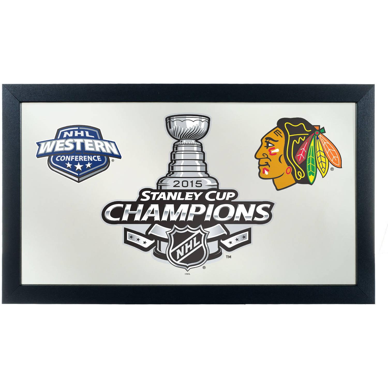 Chicago Blackhawks Framed Logo Mirror, 2015 Stanley Cup Champs