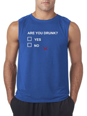 Trendy USA 1224 - Men's Sleeveless Are You Drunk Survey Yes No Maybe Funny Humor XL Royal Blue