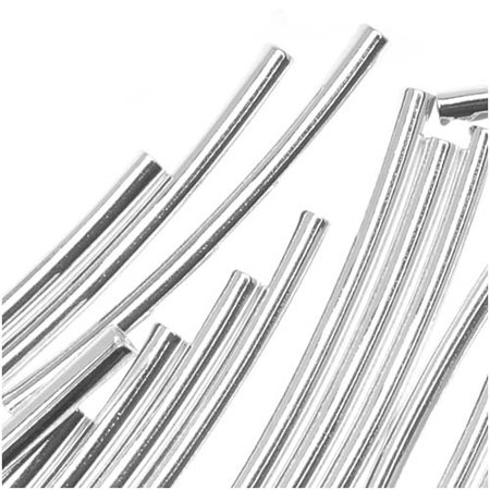 Silver Plated Curved Noodle Tube Beads 1.5mm x 21mm