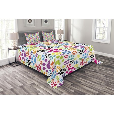 Dog Bedspread Set, Colorful Little Paws Cute Steps Childish Artwork Cartoon Unusual Traces Design, Decorative Quilted Coverlet Set with Pillow Shams Included, Purple Blue Green, by Ambesonne ()