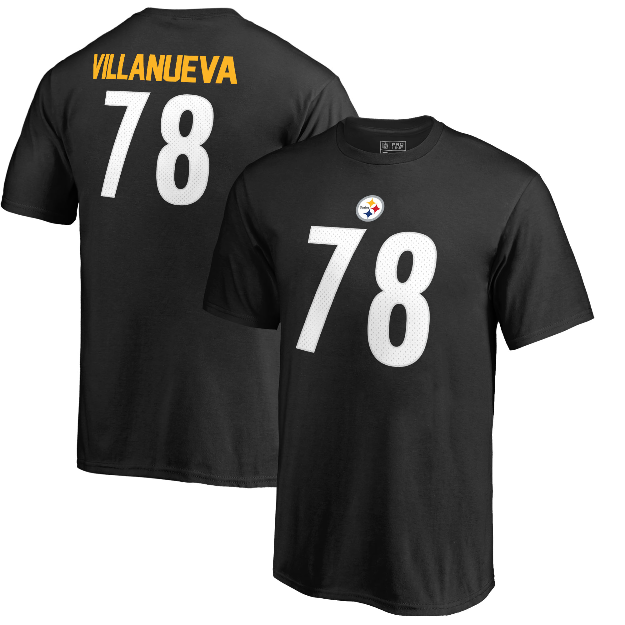 Alejandro Villanueva Pittsburgh Steelers NFL Pro Line by Fanatics Branded Youth Authentic Stack Name & Number T-Shirt - Black